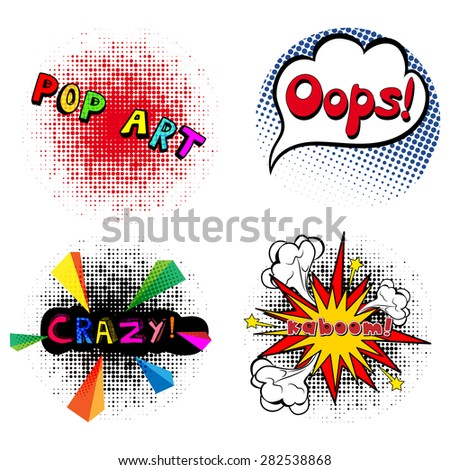 Comic speech bubble, Oops, kaboom, crazy, isolated vector illustration in the style of pop art - stock vector