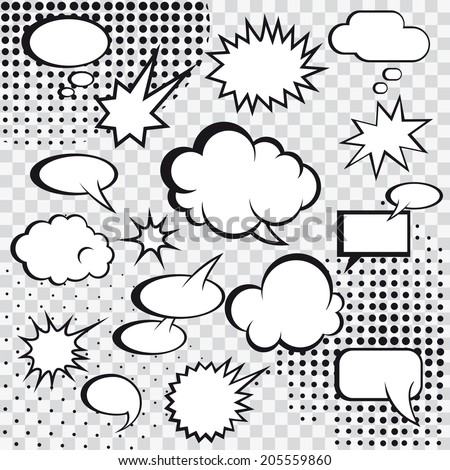 Comic speech bubbles and comic strip on monochrome halftone background vector illustration - stock vector