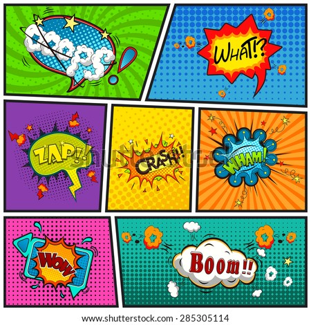 Comic speech bubbles background divided by lines vector  - stock vector