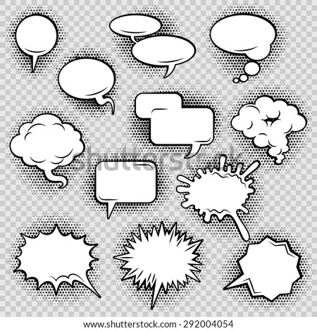 Comic speech bubbles icons collection of cloud oval rectangle and jagged shape contours abstract isolated vector illustration - stock vector