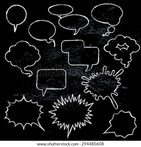 Comic speech bubbles icons collection various shapes on black background white outlined contours abstract isolated vector illustration