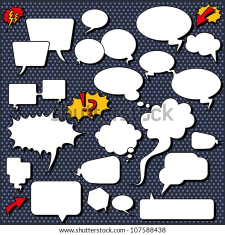 Comic speech bubbles. Illustrations of comic/cartoon style speech bubbles, shapes and icons. - stock vector