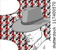 comic style drawing of a man with a retro hat over a pixel art background and a speech bubble for your text - stock