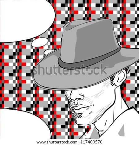 comic style drawing of a man with a retro hat over a pixel art background and a speech bubble for your text - stock vector