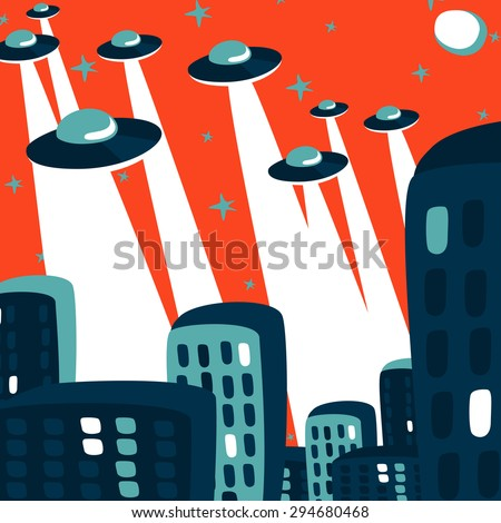 Comic-style illustration of an UFOs attack at the city - stock vector