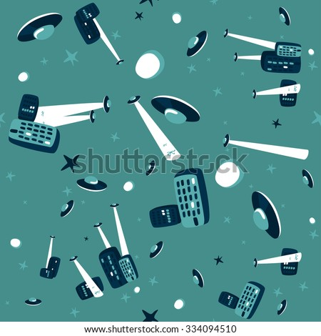 Comic-style seamless pattern of an UFOs attack at the city - stock vector