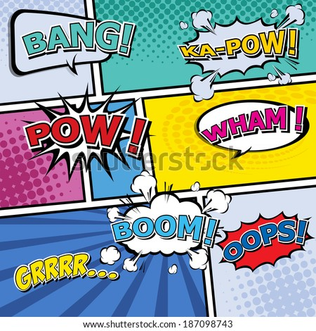 Comic Template Vector Popart Stock Vector 187098743 - Shutterstock