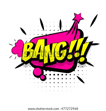 Comic text bang pink sound effects pop art vector style. Sound bubble speech word cartoon expression sounds illustration. Lettering bang comic text. Comics book background template.