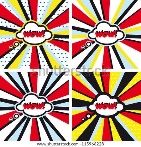 Comic vector backgrounds set WOW Pop Art - stock vector