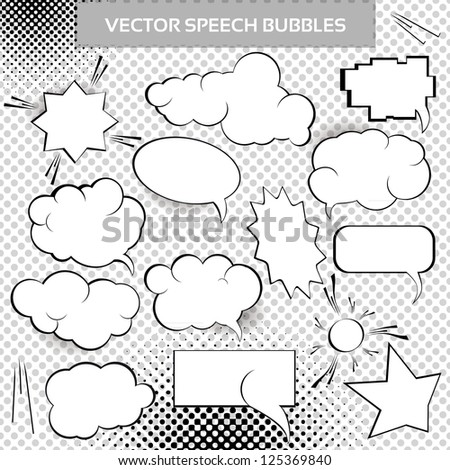 Comic Vector Design Elements. Speech bubbles collection. - stock vector