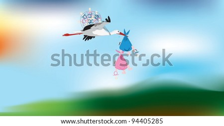 Comic vector image of a stork carrying two twins