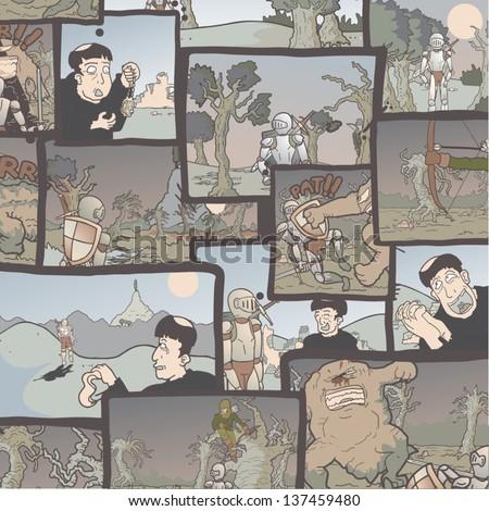 Comic wallpaper - stock vector