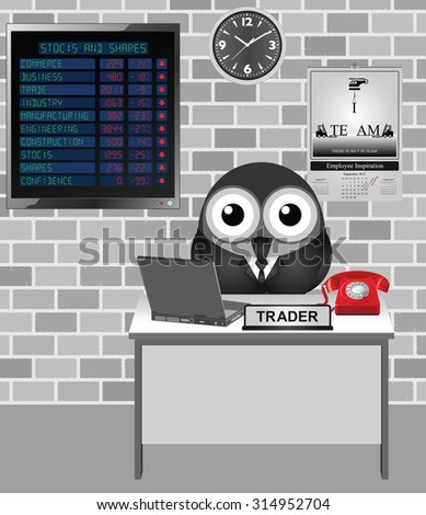 Comical bird city trader with stocks and shares loses on display screen including confidence in the stock market falling - stock vector
