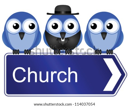 Comical church sign isolated on white background