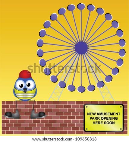 Comical construction worker building an amusement park - stock vector