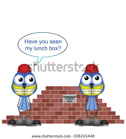 Comical construction workers and missing lunch box - stock vector