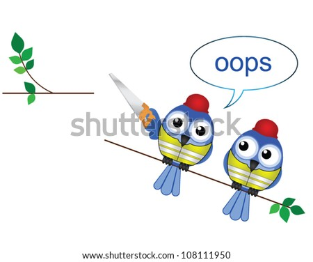 Comical construction workers standing on the wrong side cutting a branch - stock vector