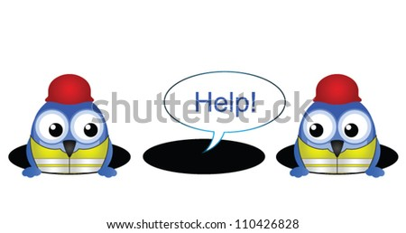 Comical construction workers with colleague stuck in a hole - stock vector