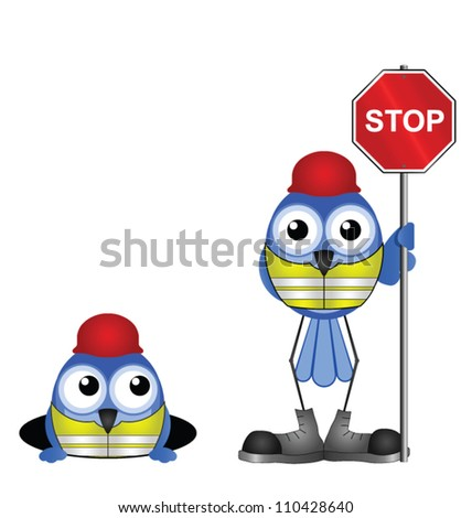 Comical construction workers with stop sign isolated on white background - stock vector