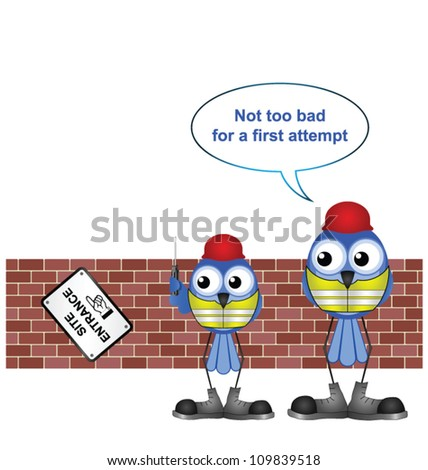 Comical construction workers with trainee erecting a sign - stock vector