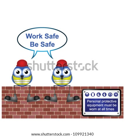Comical construction workers with work safe message isolated on white background - stock vector