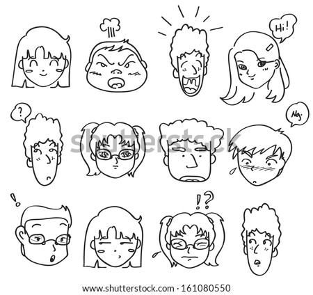 comical expressions - stock vector