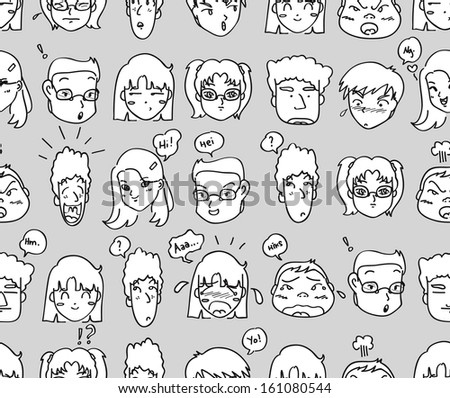 comical expressions background - stock vector