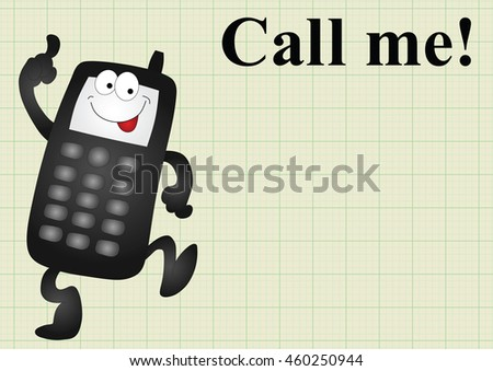 Comical mobile telephone and call me on graph paper background with copy space for own text - stock vector