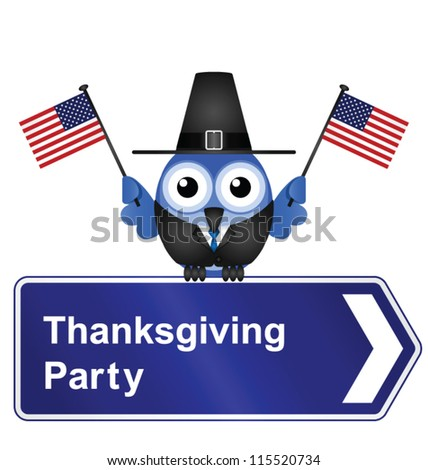Comical Thanksgiving Day party sign isolated on white background