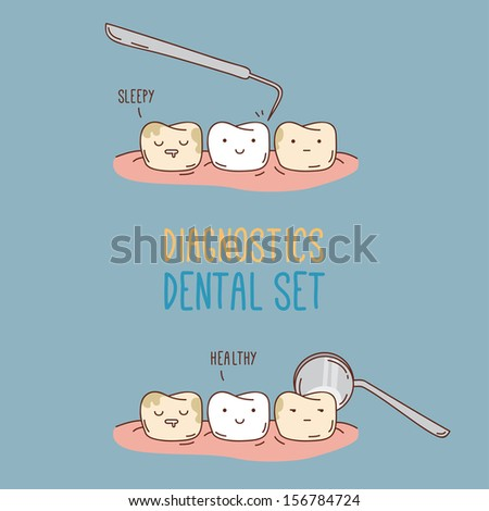 Comics about dental diagnostics and treatment. Vector illustration for children dentistry and orthodontics. Cute vector characters. Funny teeth. - stock vector