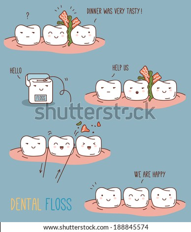 Comics about dental floss. Vector illustration for children dentistry and orthodontics. Cute teeth characters. - stock vector