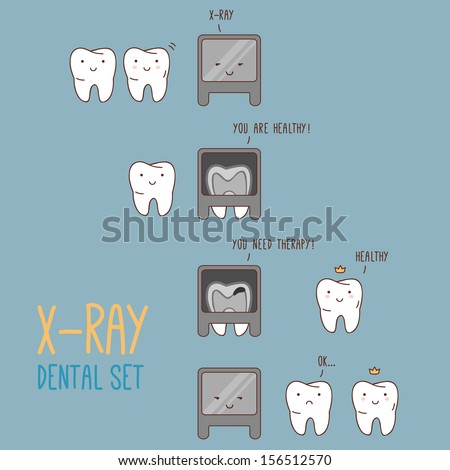Comics about dental X-ray. Vector illustration for children dentistry and orthodontics. Cute vector characters. Cartoon tooth. X-ray machine. - stock vector
