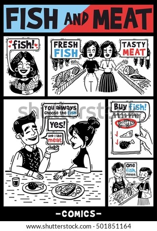 comics about people and fish and meat