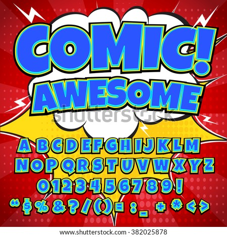 Comics alphabet. Comics alphabet vector. Comics alphabet art. Comics alphabet web. Comics alphabet set. Comics alphabet abc. Comics alphabet color. Comics alphabet image.  - stock vector