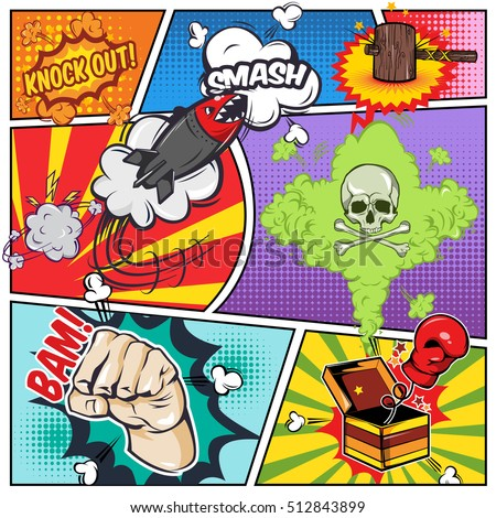 Comics Book Page Including Sound Effects Stock Vector