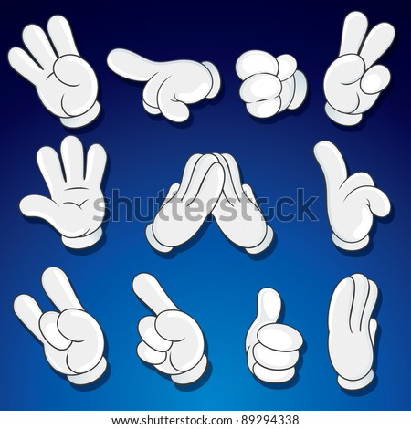 Comics Cartoon Hands, Gestures, Signs vector clip art - stock vector