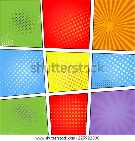 Comics pop art style blank layout template with  beams and dots pattern background vector illustration - stock vector