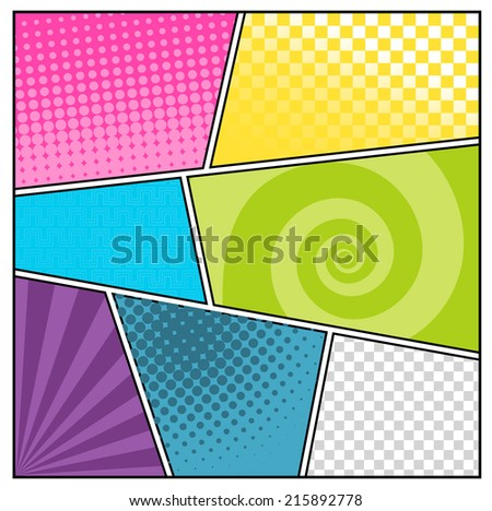 Comics pop art style blank layout template with clouds beams and dots pattern background vector illustration - stock vector