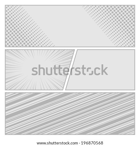 Comics pop art style blank layout template with dots pattern background vector illustration - stock vector