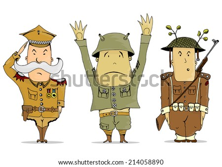 Comics soldiers of the First World War. Vector illustration.  - stock vector