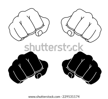 Comics style clenched man fists black and white contour lines illustration isolated on white  - stock vector
