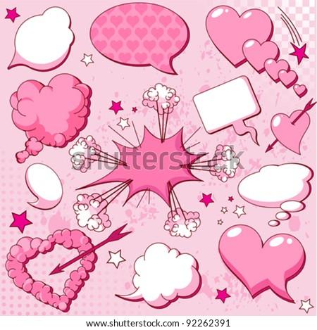 Comics style love speech bubbles - stock vector