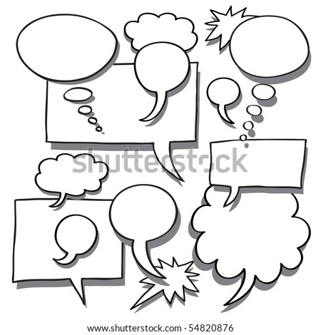 Comics Word and Thought Bubbles With Space For Text - stock vector