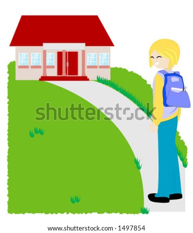Coming home from school - Vector