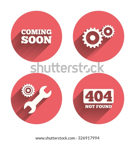 Coming soon icon. Repair service tool and gear symbols. Wrench sign. 404 Not found. Pink circles flat buttons with shadow. Vector - stock vector