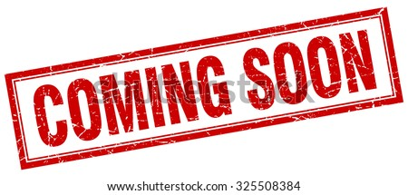 coming soon red square grunge stamp on white - stock vector