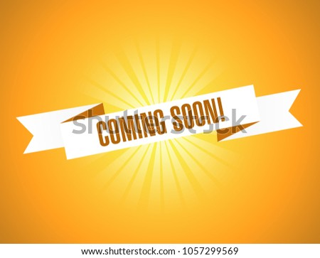 coming soon ribbon sign illustration design graphic over a blue background