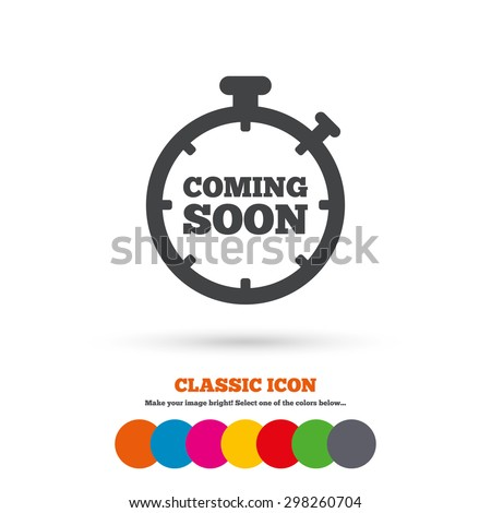Coming soon sign icon. Promotion announcement symbol. Classic flat icon. Colored circles. Vector - stock vector