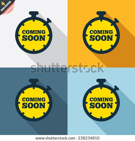 Coming soon sign icon. Promotion announcement symbol. Four squares. Colored Flat design buttons. Vector - stock vector