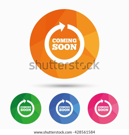 Coming soon sign icon. Promotion announcement symbol. Triangular low poly button with flat icon. Vector - stock vector